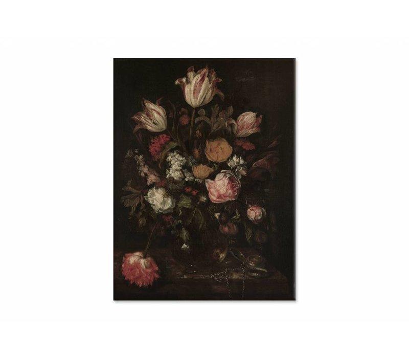 Stilleven met bloemen1 • staande afdruk op canvas