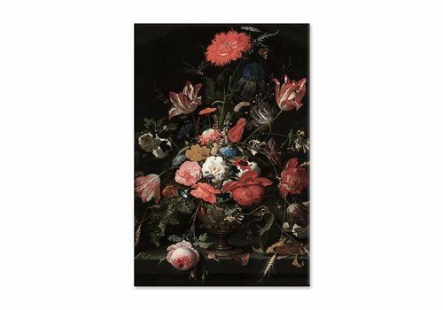 Bloemen in een metalen vaas • staande afdruk op canvas