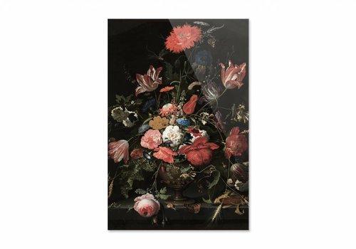 Bloemen in een metalen vaas • staande afdruk op plexiglas