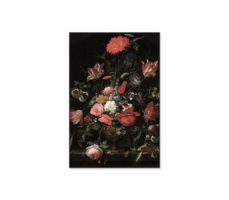 Bloemen in een metalen vaas • staande afdruk op textiel