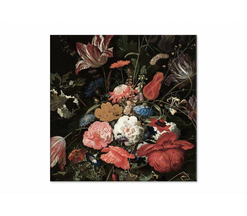 Bloemen in een metalen vaas • vierkante afdruk op canvas