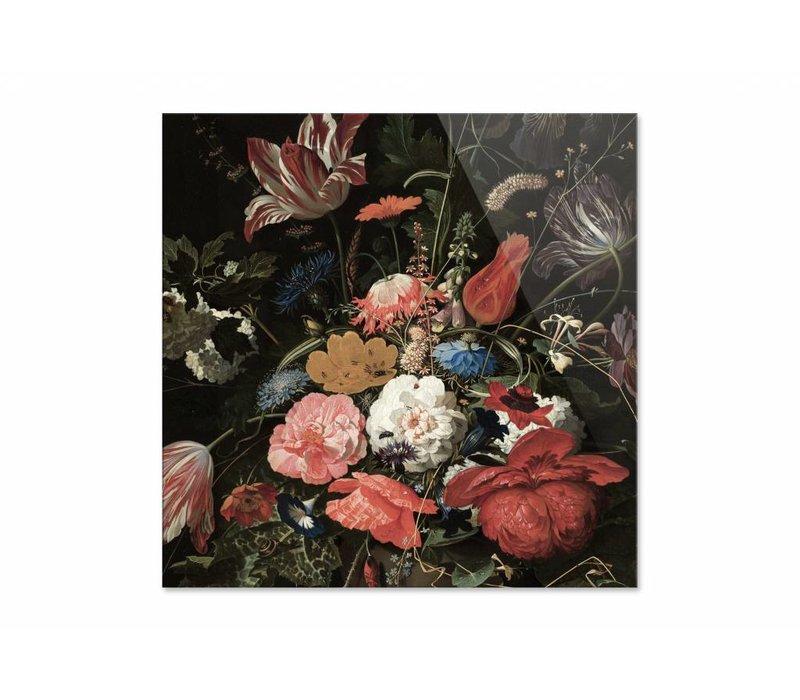 Bloemen in een metalen vaas • vierkante afdruk op plexiglas