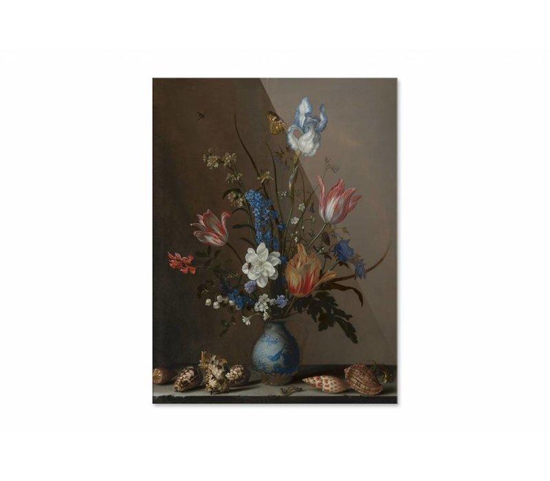 Bloemen in een Wan Li vaas met schelpen • staande afdruk op plexiglas