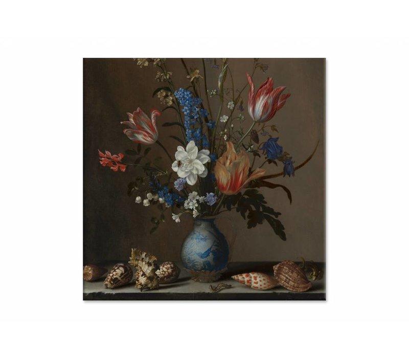 Bloemen in een Wan Li vaas met schelpen • vierkante afdruk op canvas