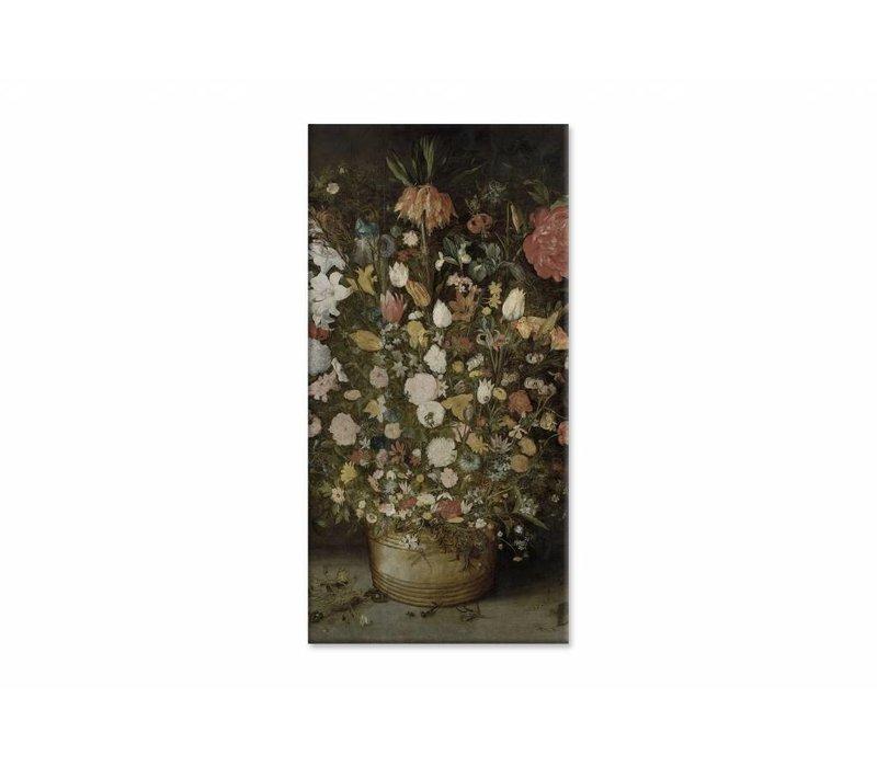 Bloemen in pot • staande afdruk op canvas