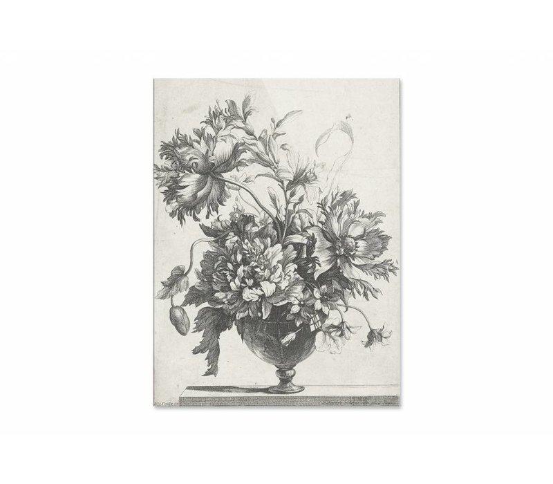 Glazen vaas met bloemen • staande afdruk op plexiglas