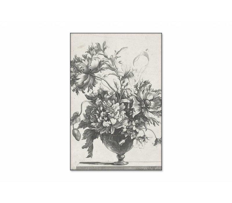 Glazen vaas met bloemen • staande afdruk op textiel