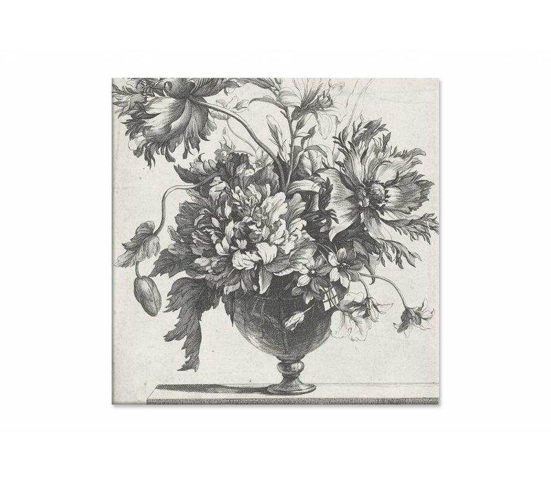 Glazen vaas met bloemen • vierkante afdruk op canvas