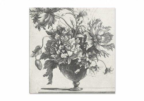 Glazen vaas met bloemen • vierkante afdruk op plexiglas