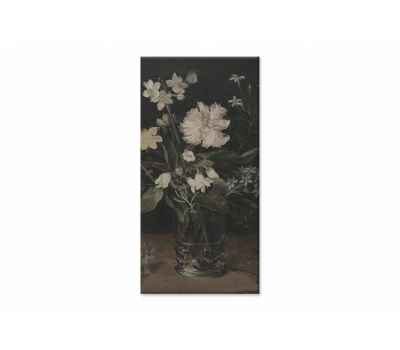 Stilleven met bloemen in een glas • staande afdruk op canvas