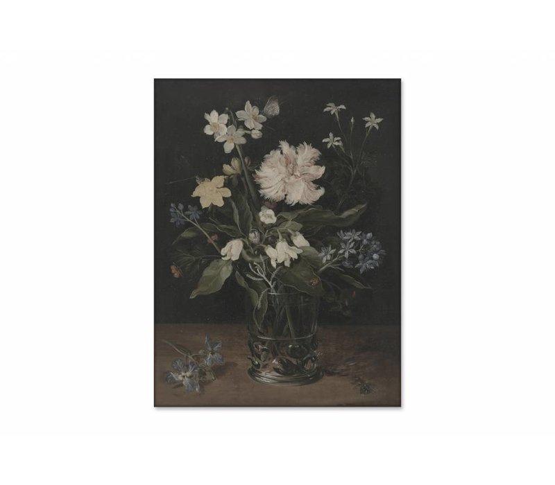 Stilleven met bloemen in een glas • staande afdruk op textiel