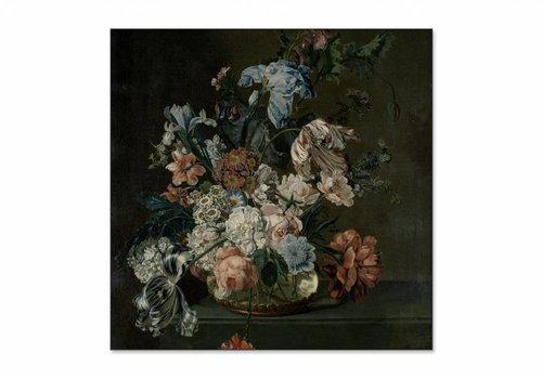 Stilleven met tulpen • vierkante afdruk op textiel