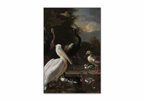 Een pelikaan en ander gevogelte bij een waterbassin • staande afdruk op textiel