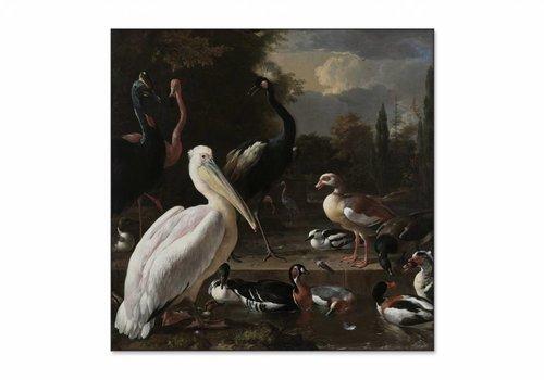 Een pelikaan en ander gevogelte bij een waterbassin • vierkante afdruk op textiel