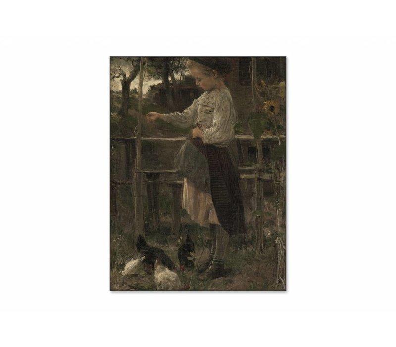 Kippetjes voeren • staande afdruk op textiel