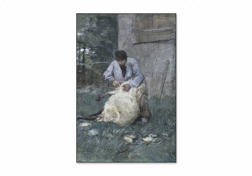 Schapenscheerder • staande afdruk op textiel