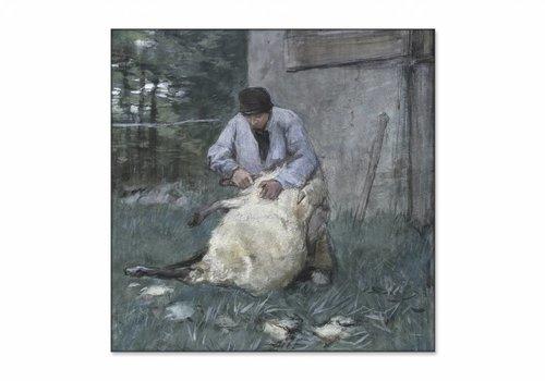 Schapenscheerder • vierkante afdruk op textiel