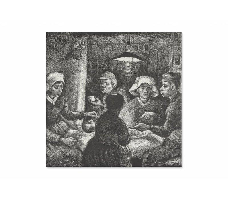 Aardappeleters • vierkante afdruk op canvas