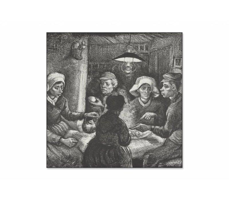 Aardappeleters • vierkante afdruk op textiel