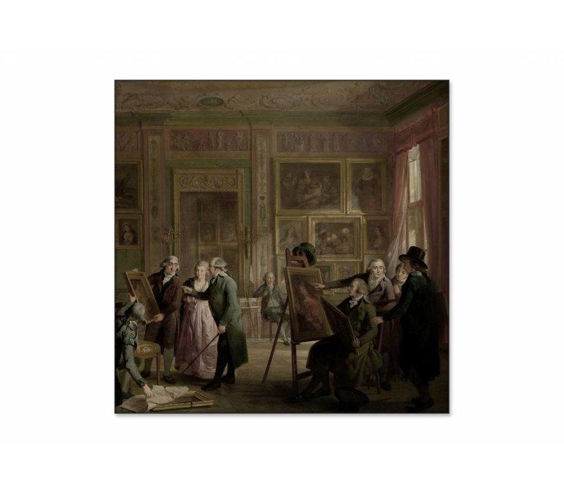 De kunstgalerij van Josephus Augustinus Brentano • vierkante afdruk op textiel