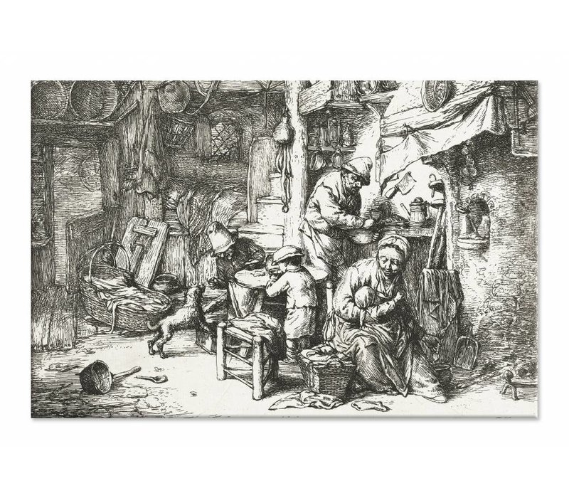 Boerengezin in interieur • liggende afdruk op canvas