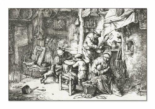 Boerengezin in interieur • liggende afdruk op textiel