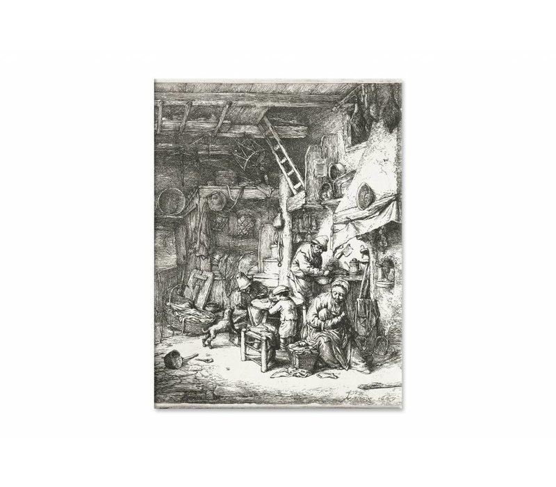 Boerengezin in interieur • staande afdruk op canvas