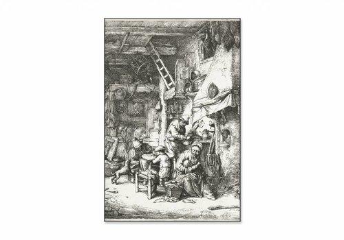 Boerengezin in interieur • staande afdruk op textiel