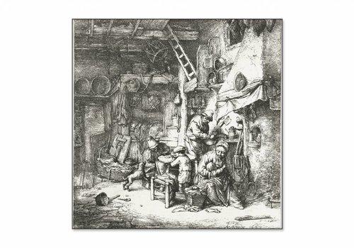 Boerengezin in interieur • vierkante afdruk op textiel