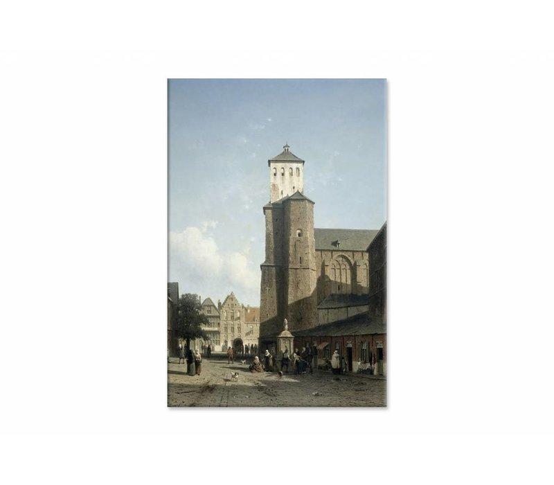 De kerk van St Denis te Luik • staande afdruk op canvas