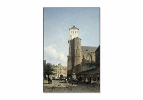 De kerk van St Denis te Luik • staande afdruk op textiel
