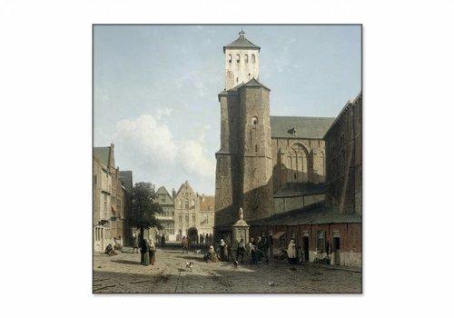 De kerk van St Denis te Luik • vierkante afdruk op textiel