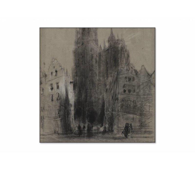 Onze Lieve Vrouwekathedraal van Antwerpen • vierkante afdruk op textiel