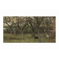 Bloeiende boom in boomgaard • liggende afdruk op canvas