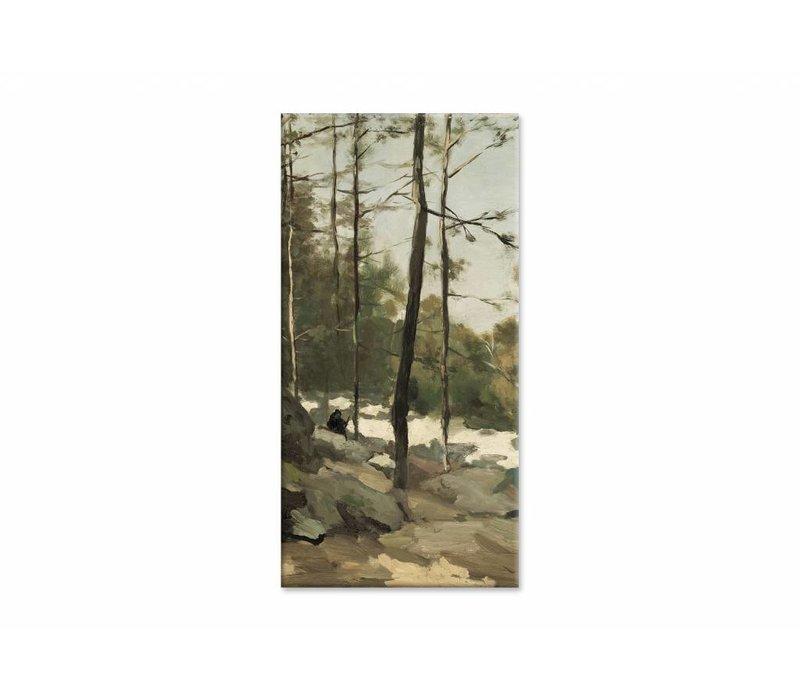 Bosgezicht nabij Barbizon • staande afdruk op canvas