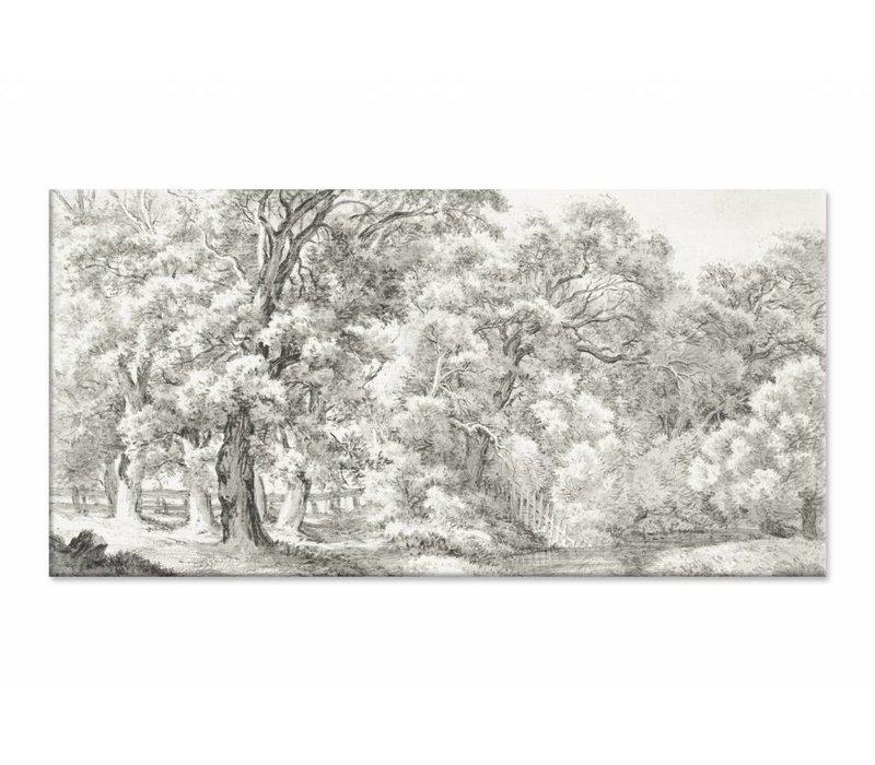 Landschap met bomen bij water • liggende afdruk op canvas