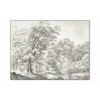 Landschap met bomen bij water • liggende afdruk op textiel