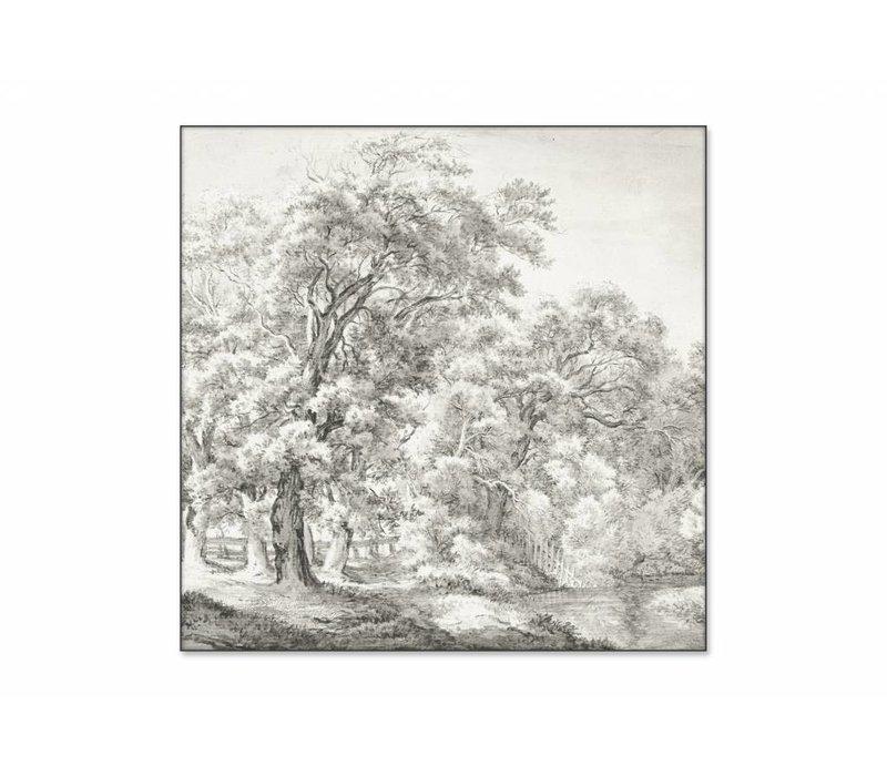 Landschap met bomen bij water • vierkante afdruk op textiel