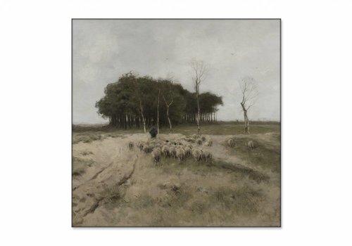 Heide bij Laren • vierkante afdruk op textiel