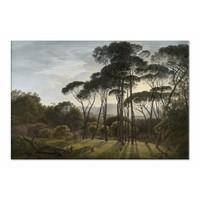 Italiaans landschap met parasoldennen • liggende afdruk op canvas
