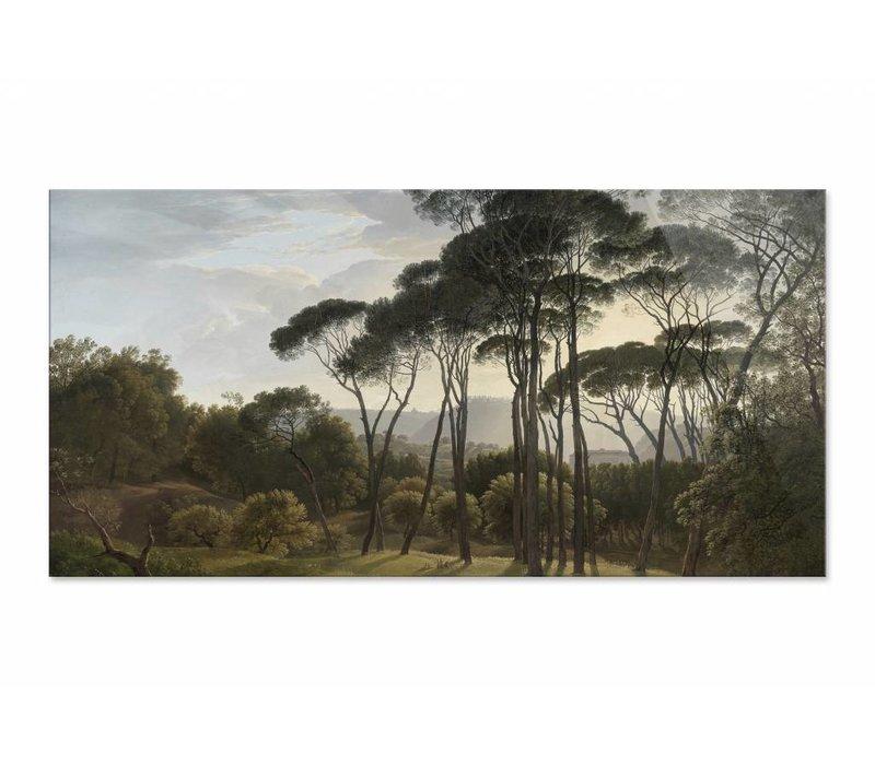 Italiaans landschap met parasoldennen • liggende afdruk op plexiglas