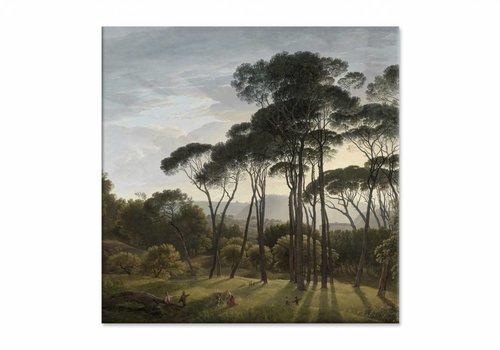 Italiaans landschap met parasoldennen • vierkante afdruk op canvas