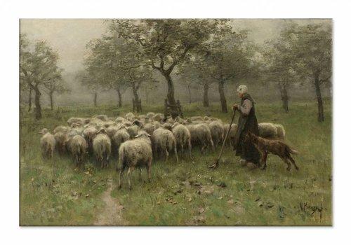 Herderin met kudde schapen • liggende afdruk op canvas