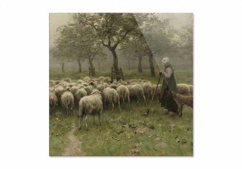 Herderin met kudde schapen • vierkante afdruk op plexiglas
