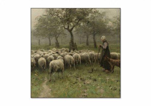 Herderin met kudde schapen • vierkante afdruk op textiel