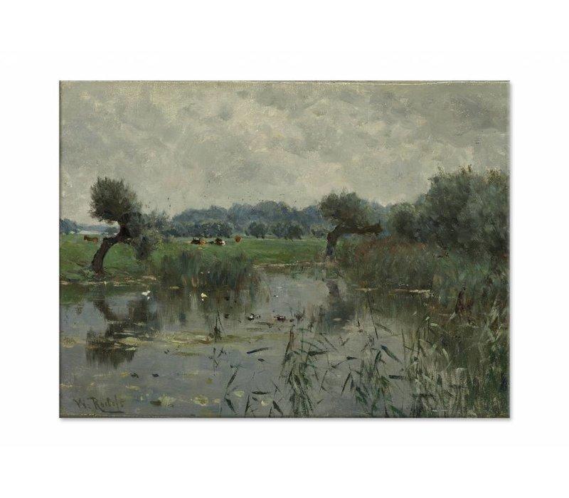 In de uiterwaarden van de IJssel • liggende afdruk op canvas