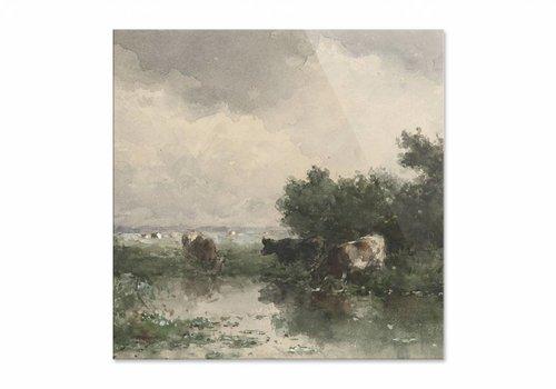 Koeien aan een plas • vierkante afdruk op plexiglas