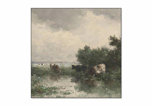 Koeien aan een plas • vierkante afdruk op textiel