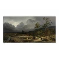Landschap bij naderend onweer • liggende afdruk op canvas