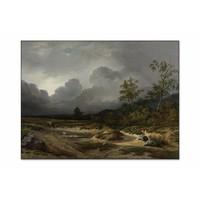 Landschap bij naderend onweer • liggende afdruk op textiel